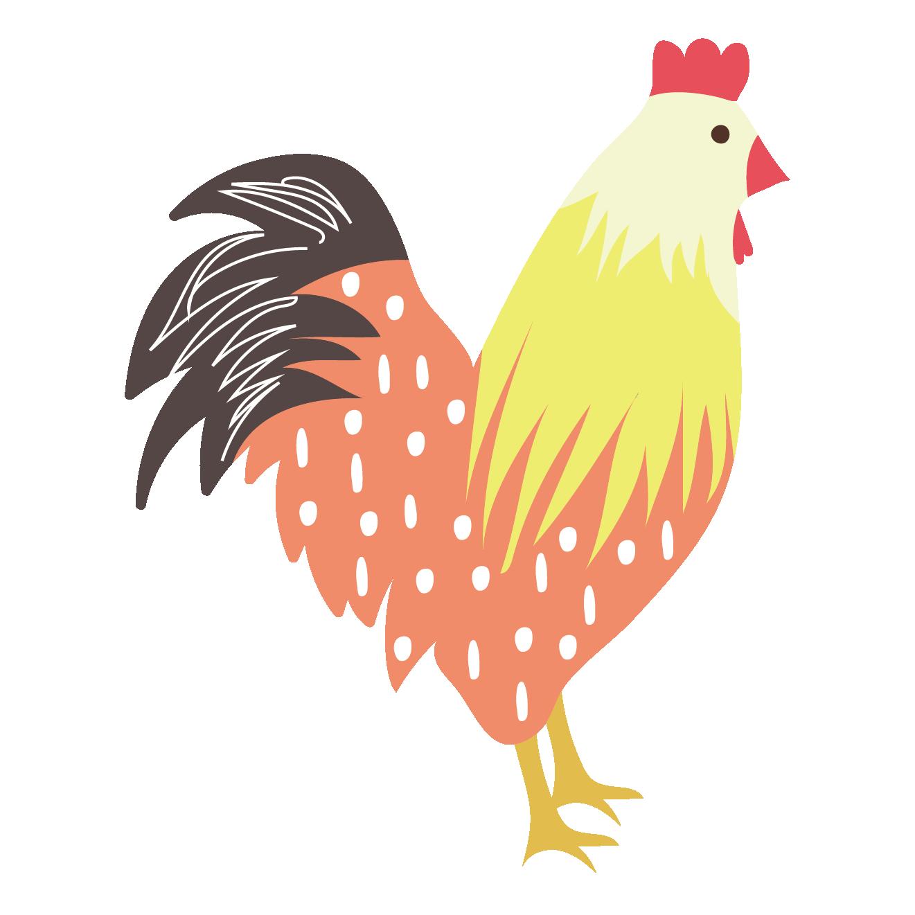 酉年 水玉(ドット)柄の可愛い鶏(にわとり)のイラスト   商用フリー