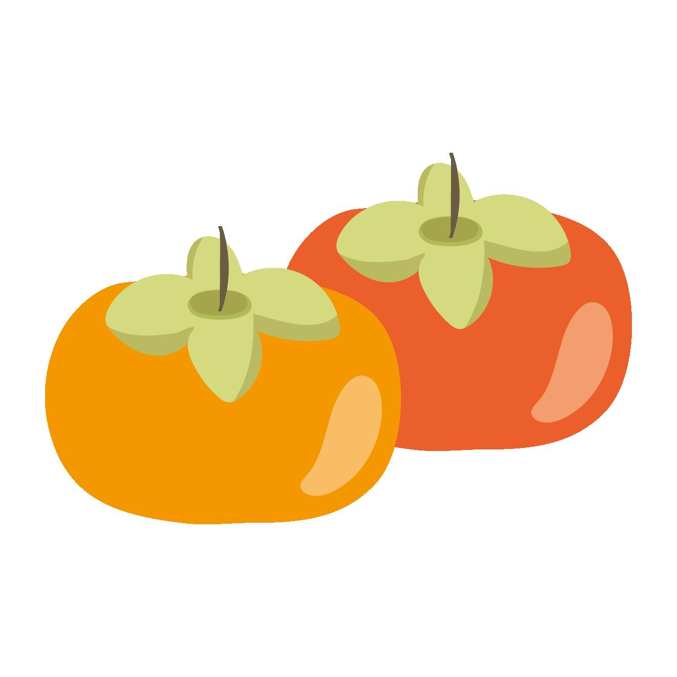 まんまる柿かきのイラスト秋のフルーツ 商用フリー無料の