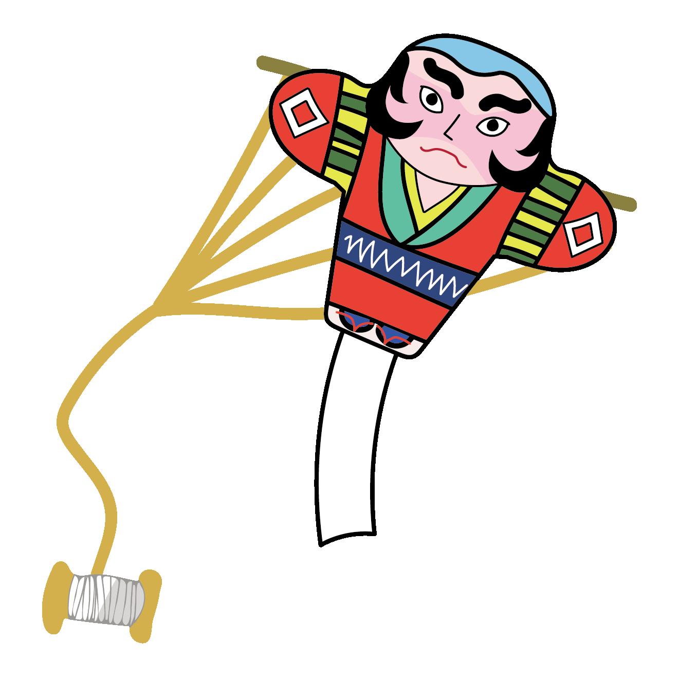 凧(たこ)のイラスト【正月・冬・子供・年賀状】 | 商用フリー(無料