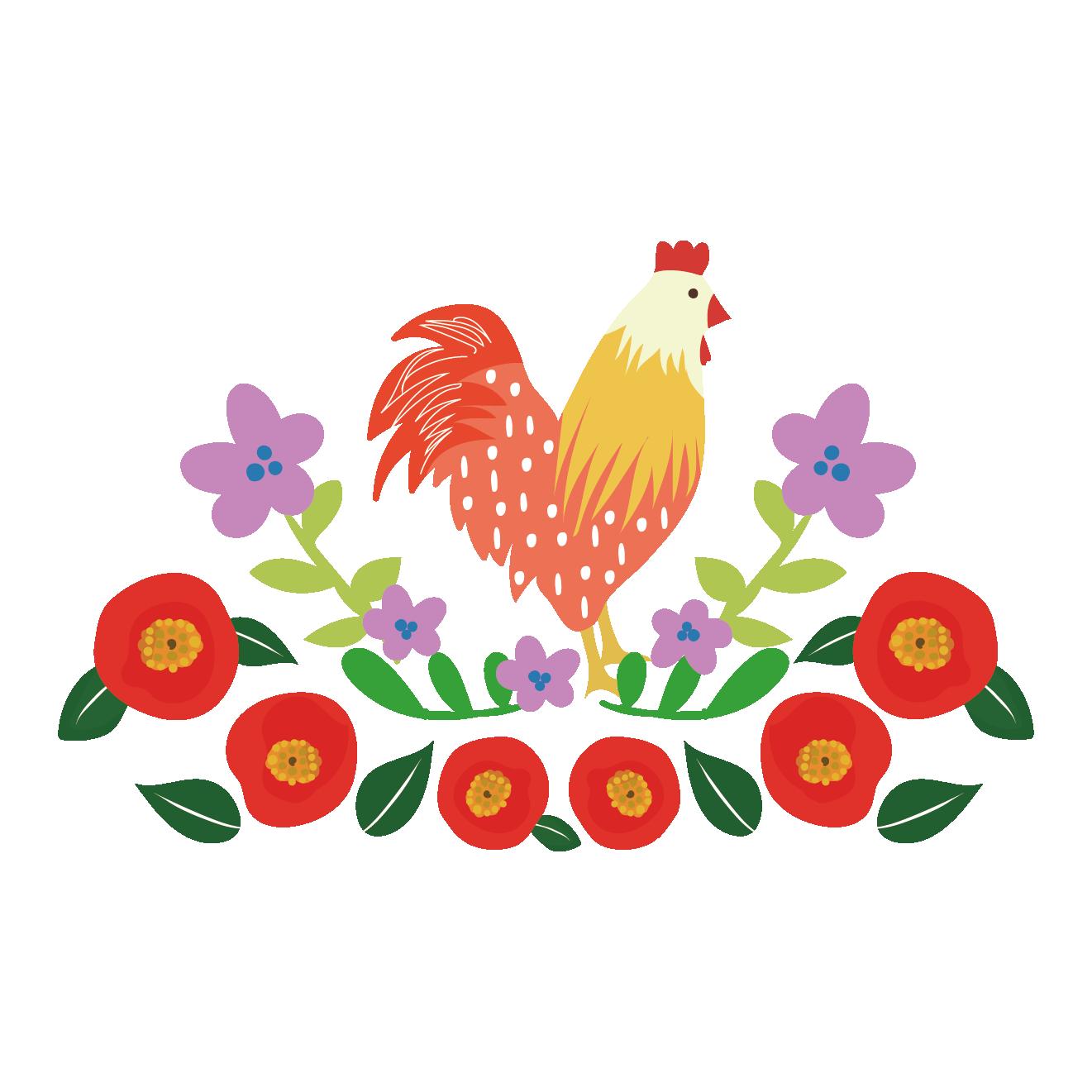 お洒落な鶏(にわとり)のワンポイントイラスト【酉年】 | 商用フリー