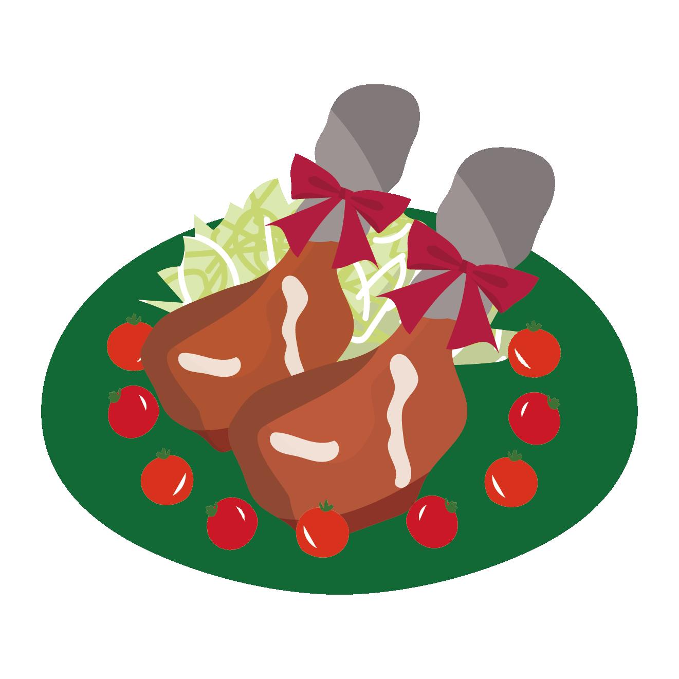 ローストチキン鶏肉のイラストクリスマスやお祝いに 商用