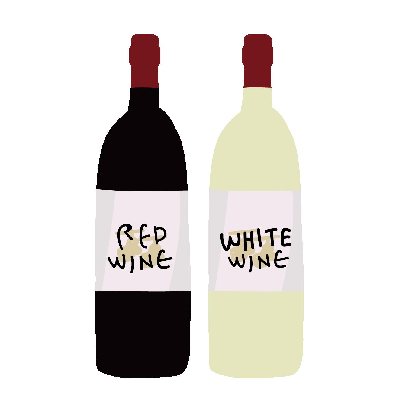 赤ワインと白ワインのイラスト! | 商用フリー(無料)のイラスト素材なら