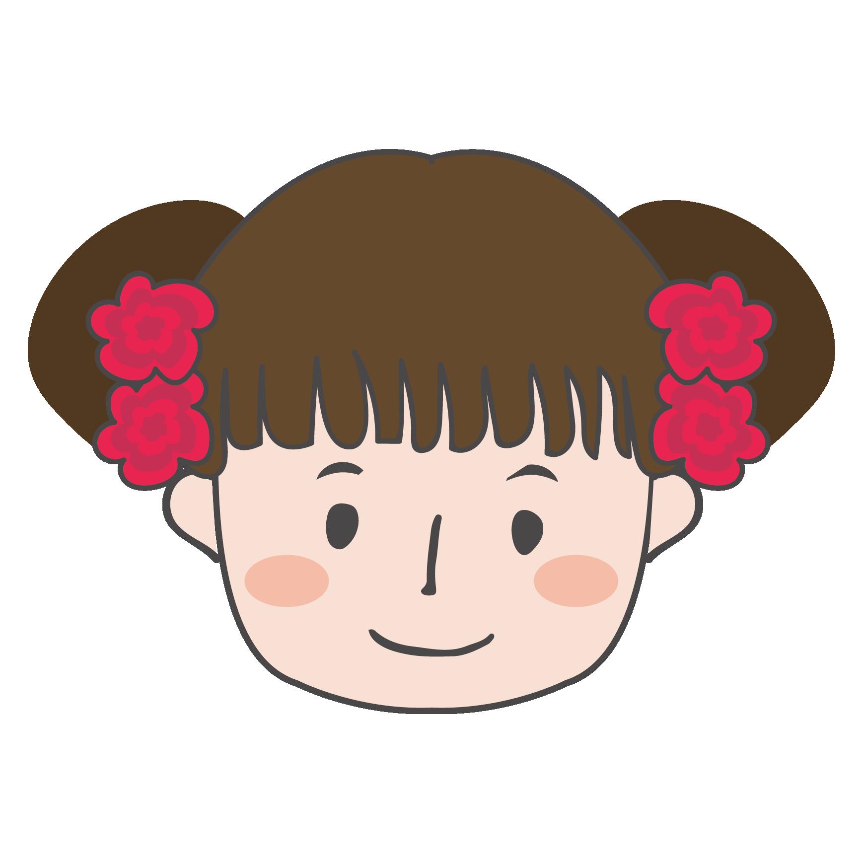 おダンゴヘアーのかわいい女の子 イラスト顔のアップ 商用フリー