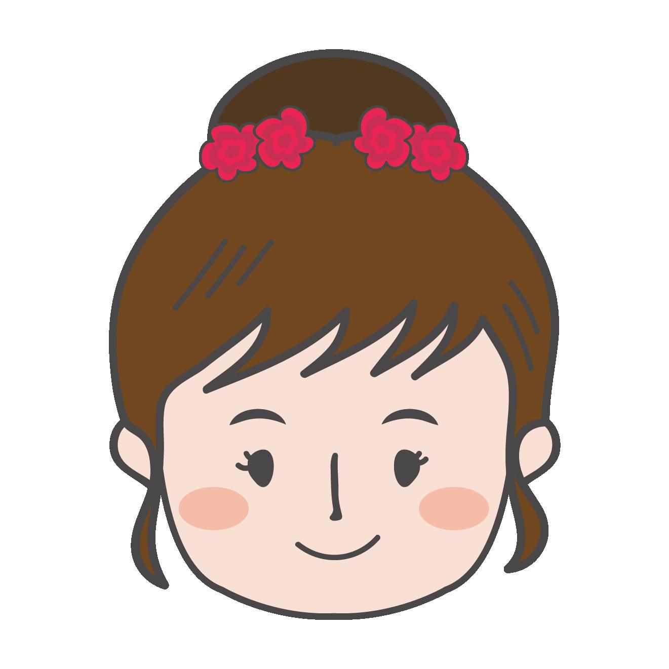 お団子ヘアーの女の子2 イラスト顔アップ 商用フリー無料の