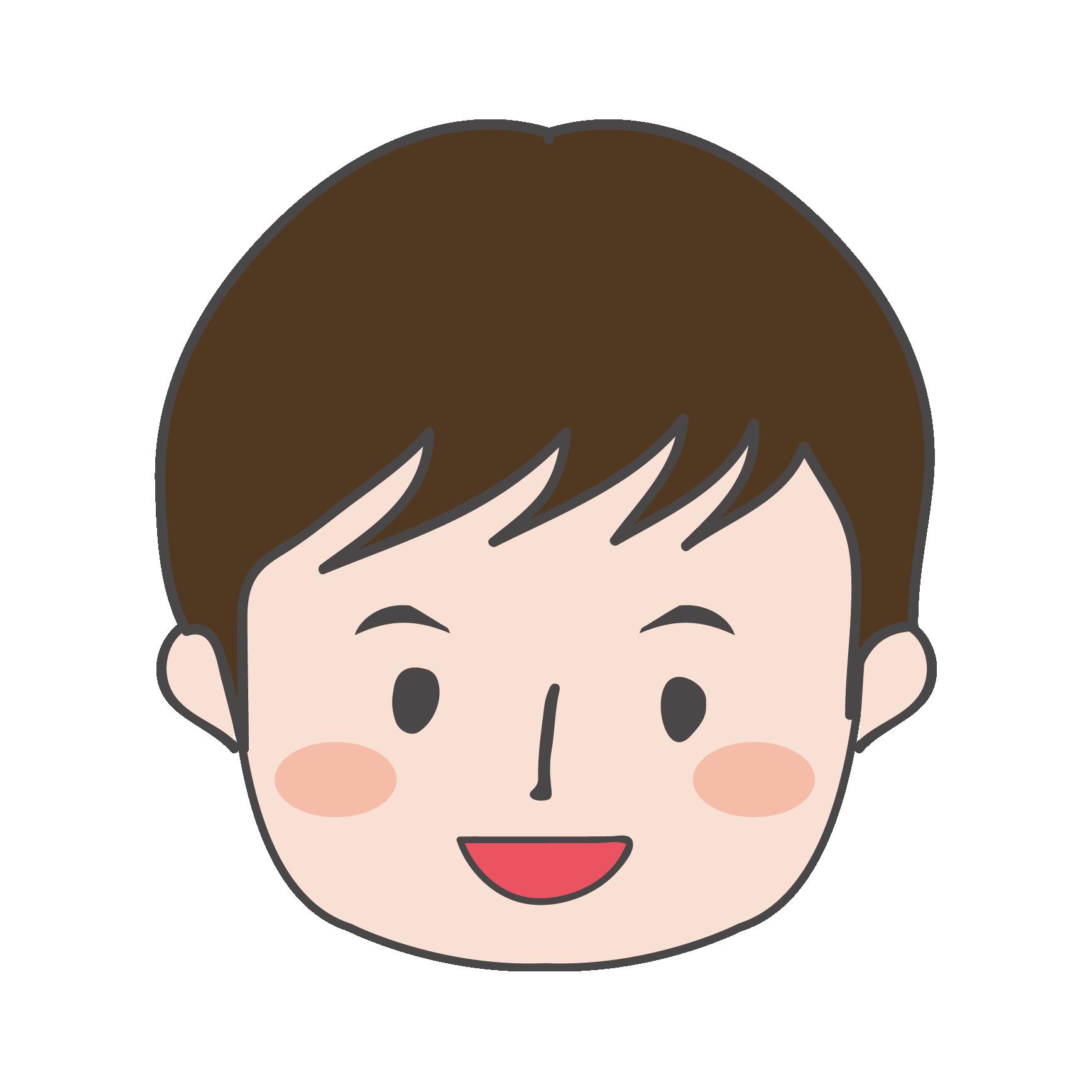 小さな男の子 イラスト顔のアップ 商用フリー無料のイラスト素材
