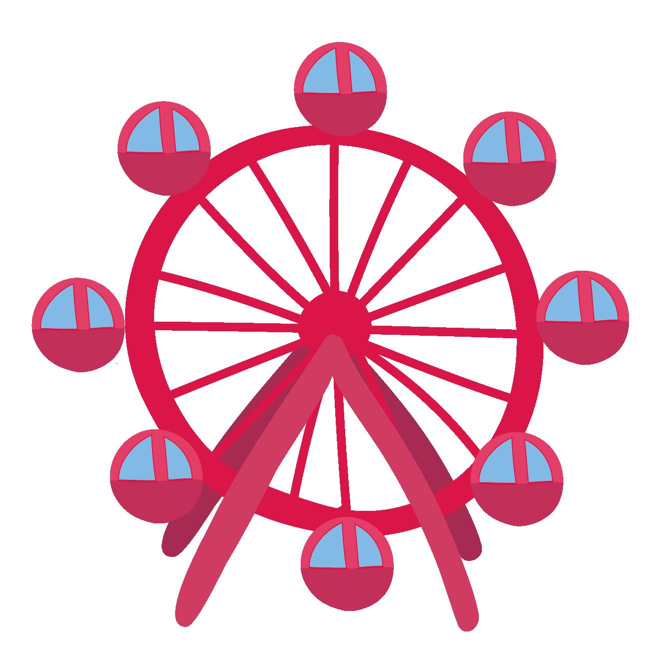 遊園地アミューズメントパークの観覧車のイラスト 商用フリー無料