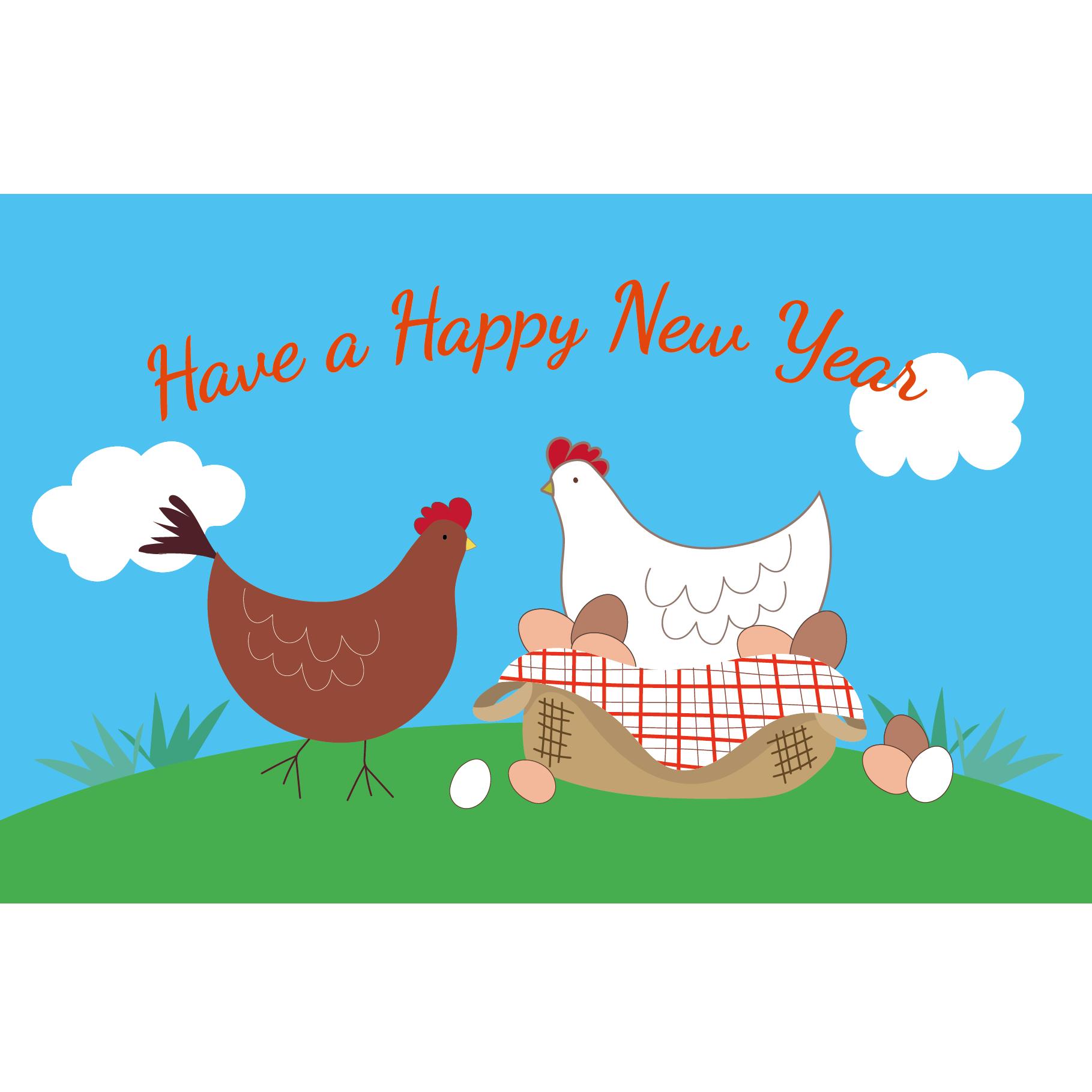 酉年 年賀状!おしゃれでほっこり鶏のイラスト 2017年 | 商用フリー