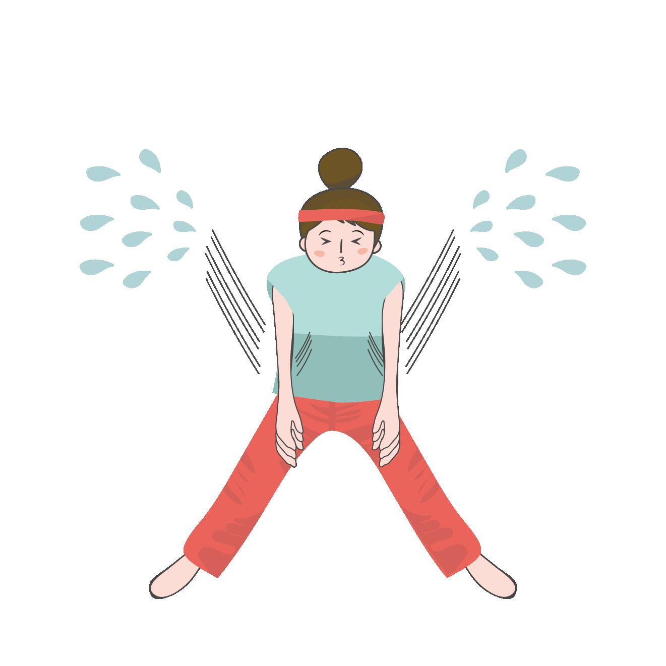 前屈運動をしている女性のイラスト 商用フリー無料のイラスト素材