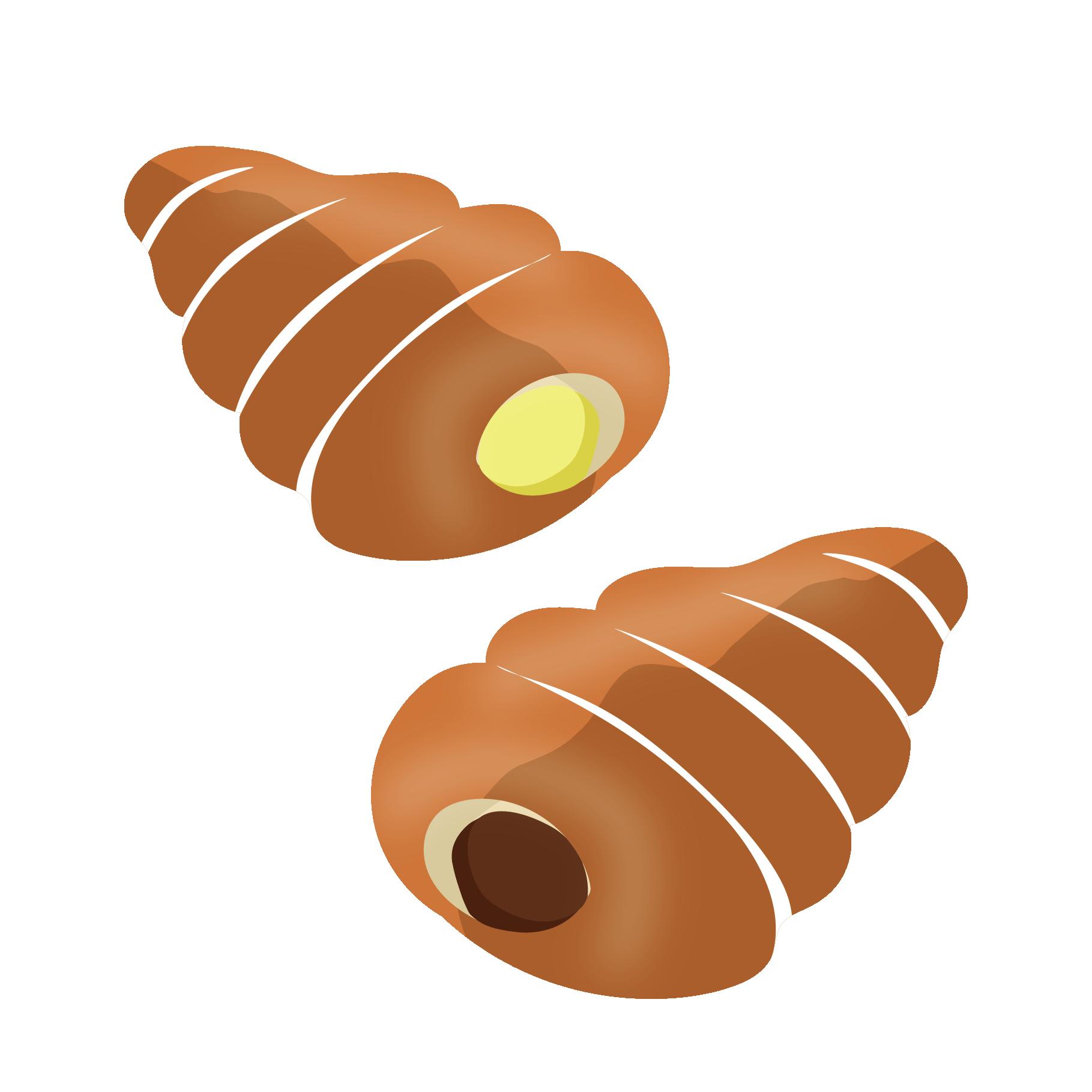 チョココロネとクリームコロネ パンのイラスト【菓子パン】 | 商用