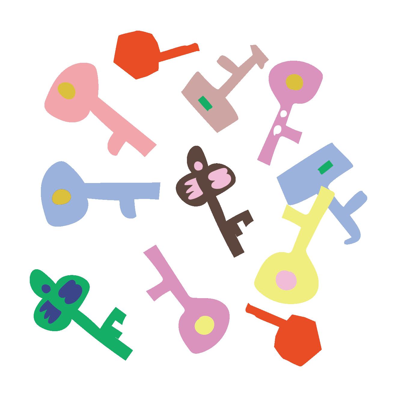 オシャレな鍵(カギ・key)柄のイラスト | 商用フリー(無料)のイラスト