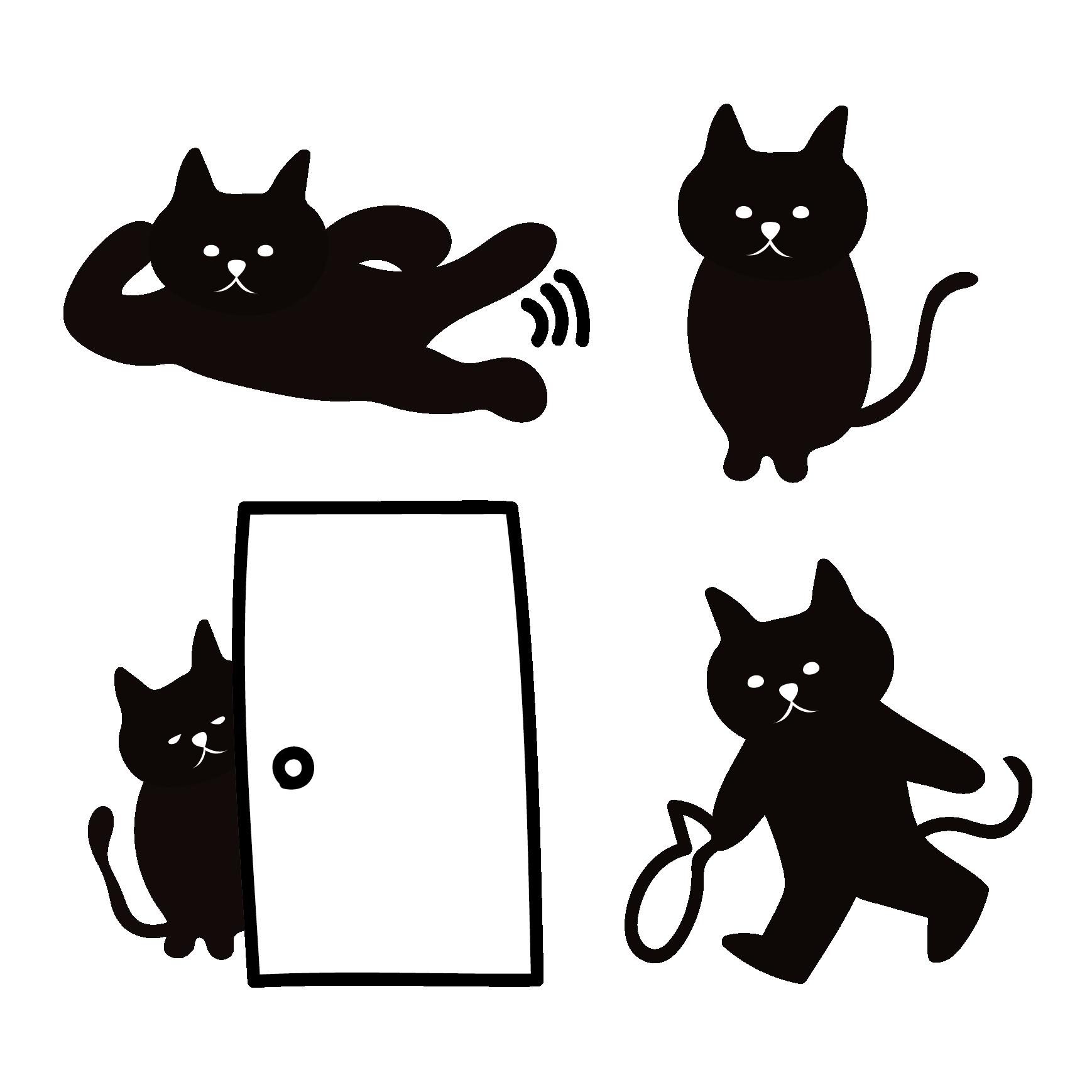 黒猫(くろねこ・ブラックキャット)の4つの日常イラスト | 商用
