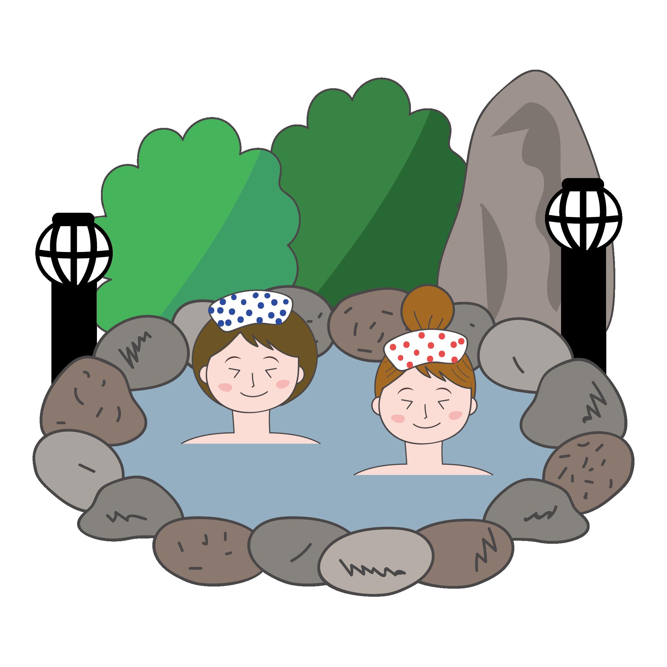 温泉(温泉旅行) イラスト【女性が温泉でのんびり♪】 | 商用フリー