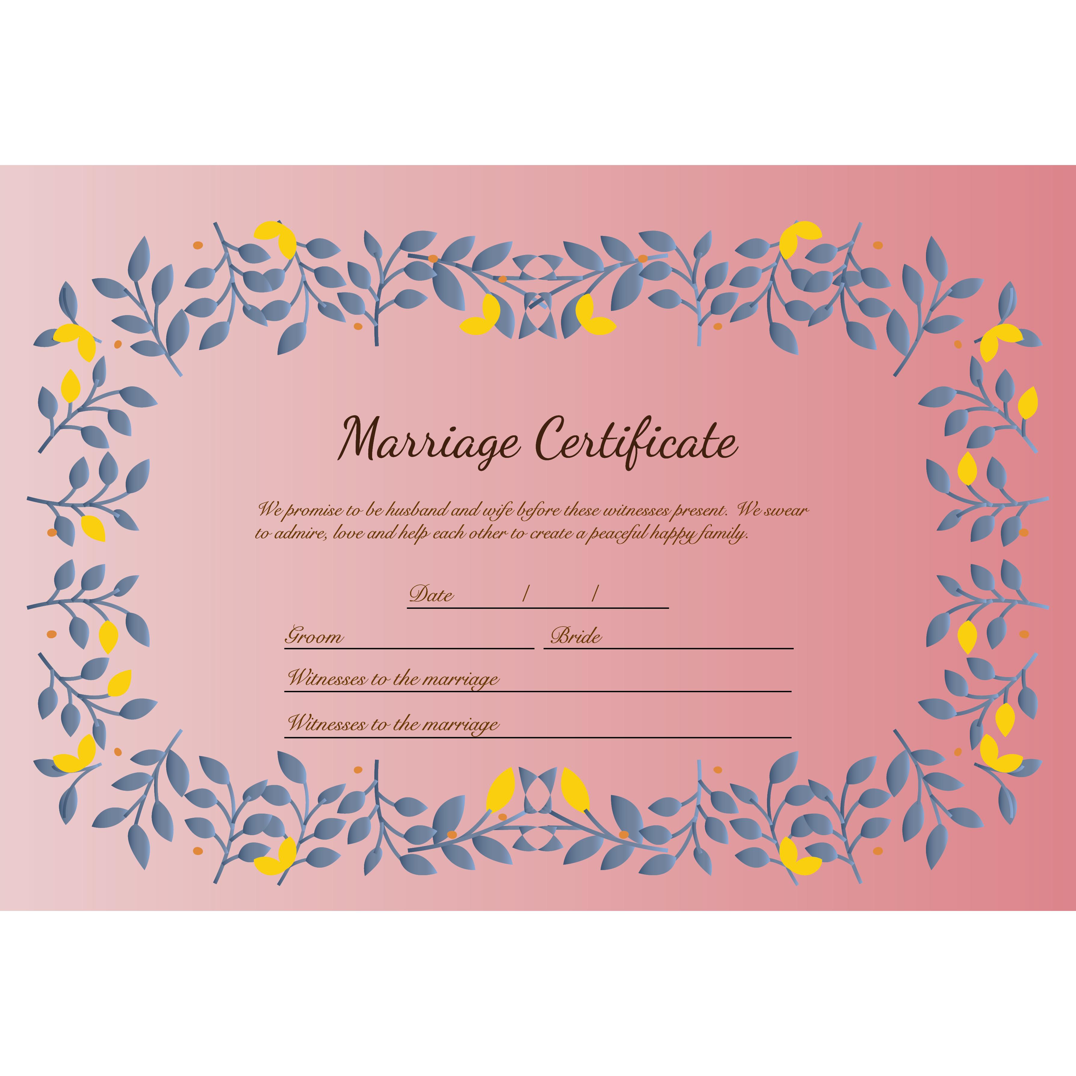 結婚証明書 テンプレート イラスト♪かわいいリーフスタイル♪ | 商用