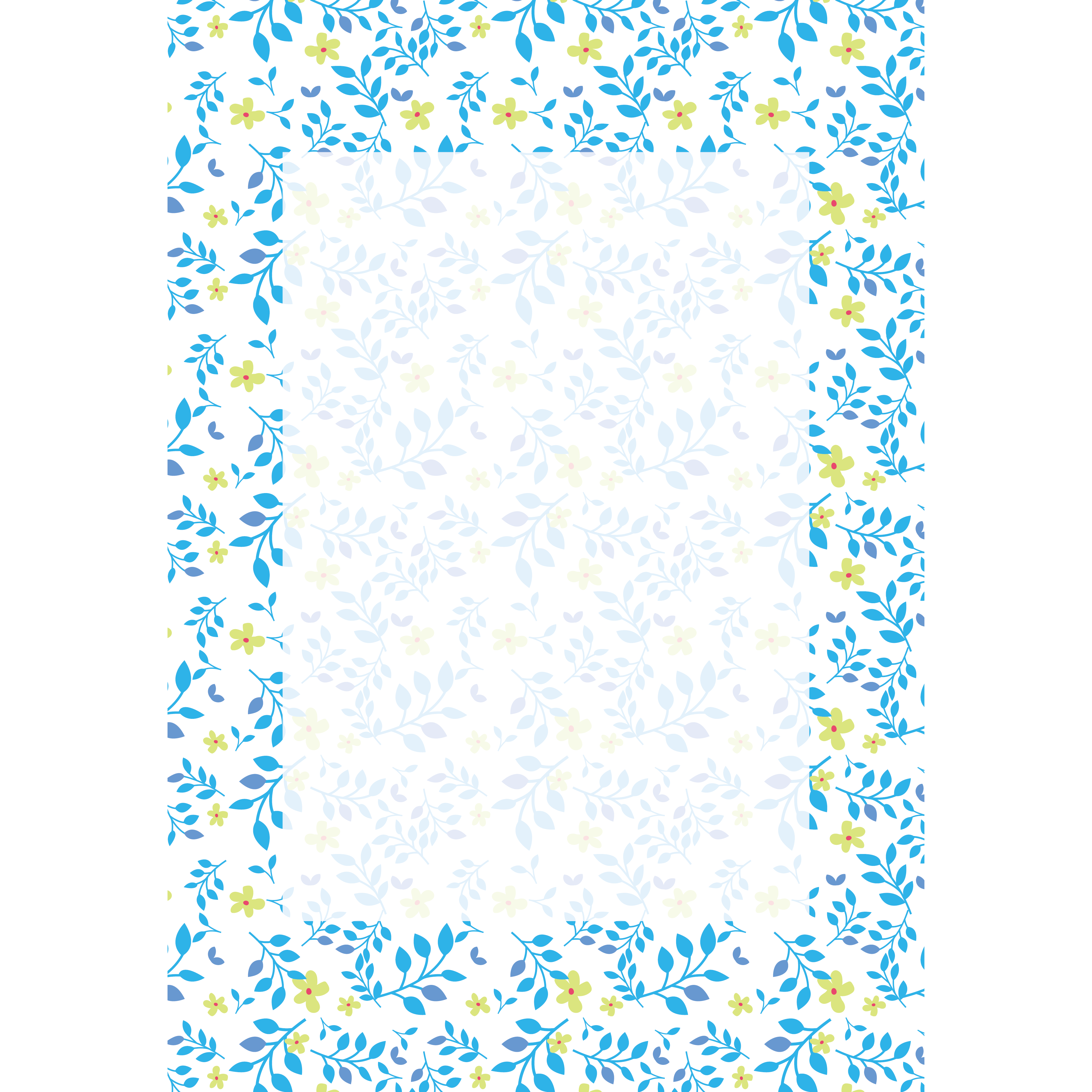 便箋 テンプレート 葉っぱ花柄 イラスト 商用フリー無料のイラスト