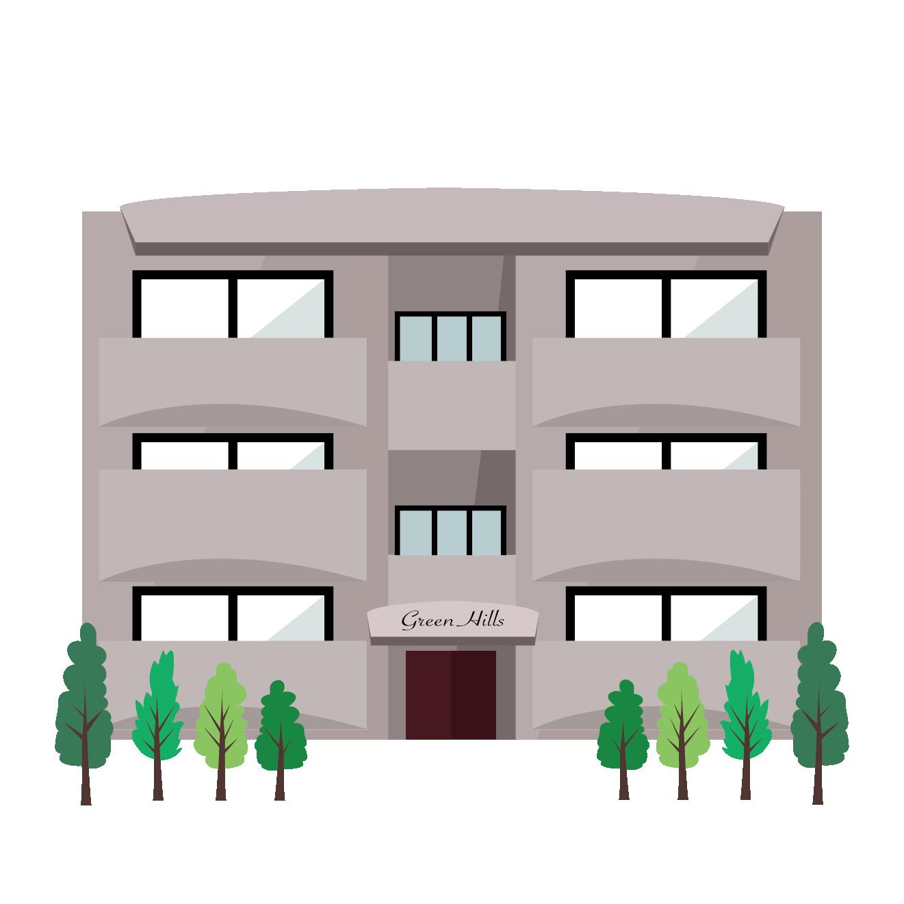 マンション イラストベーシックな建物 商用フリー無料のイラスト