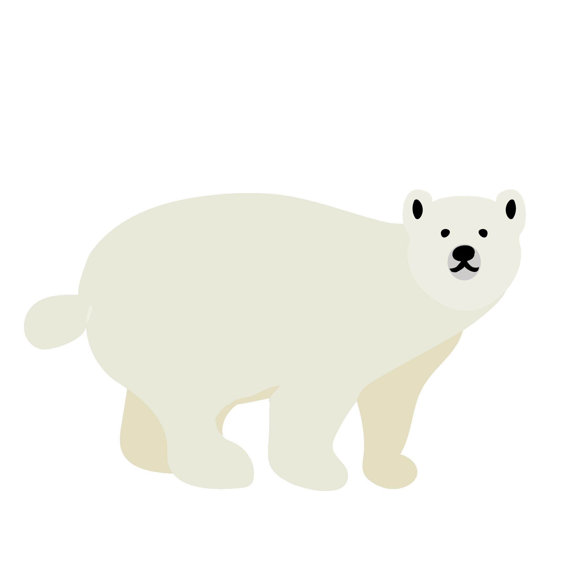 くま イラスト 全身白熊シロクマ 商用フリー無料のイラスト
