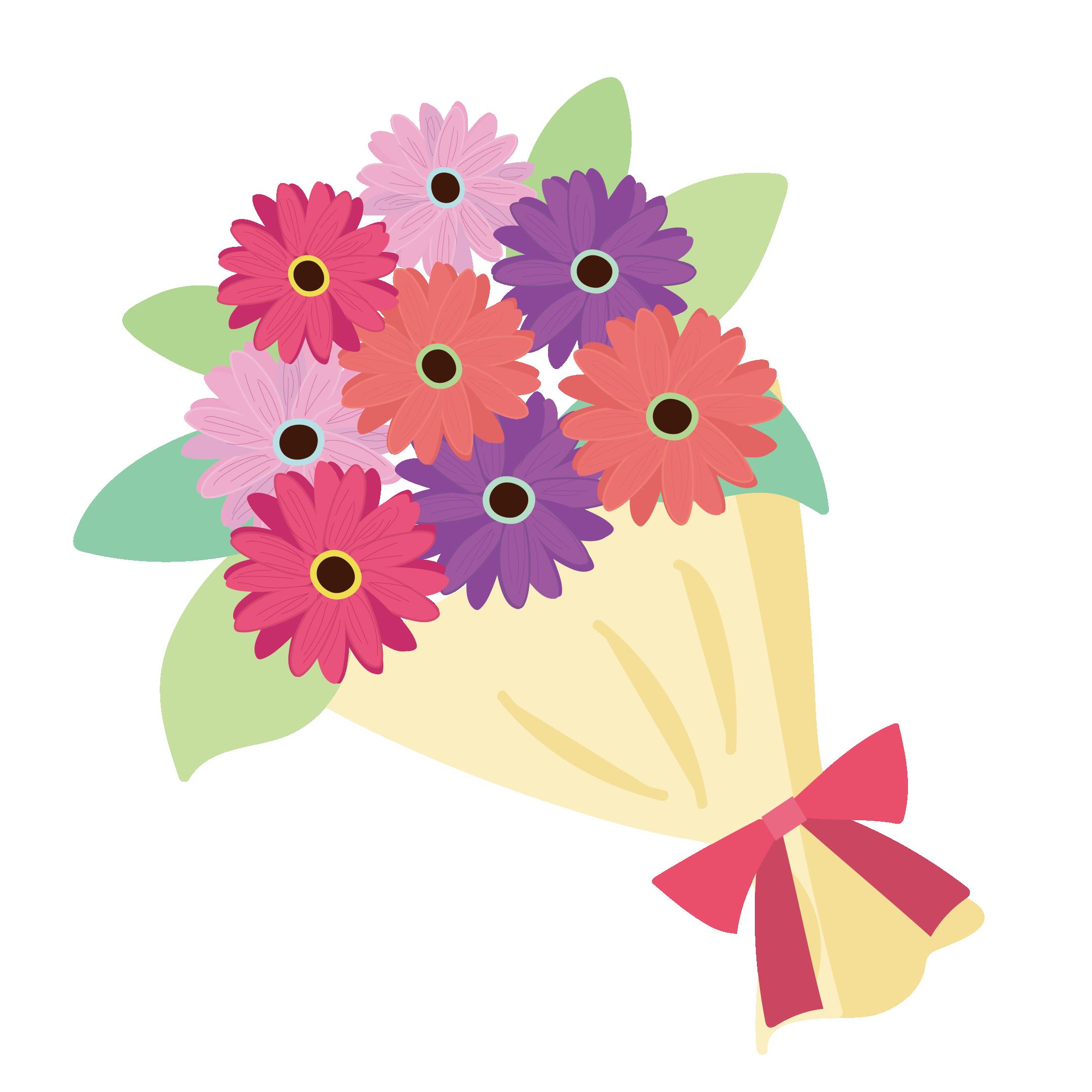 花束 イラスト カラフルフラワー♪   商用フリー(無料)のイラスト素材