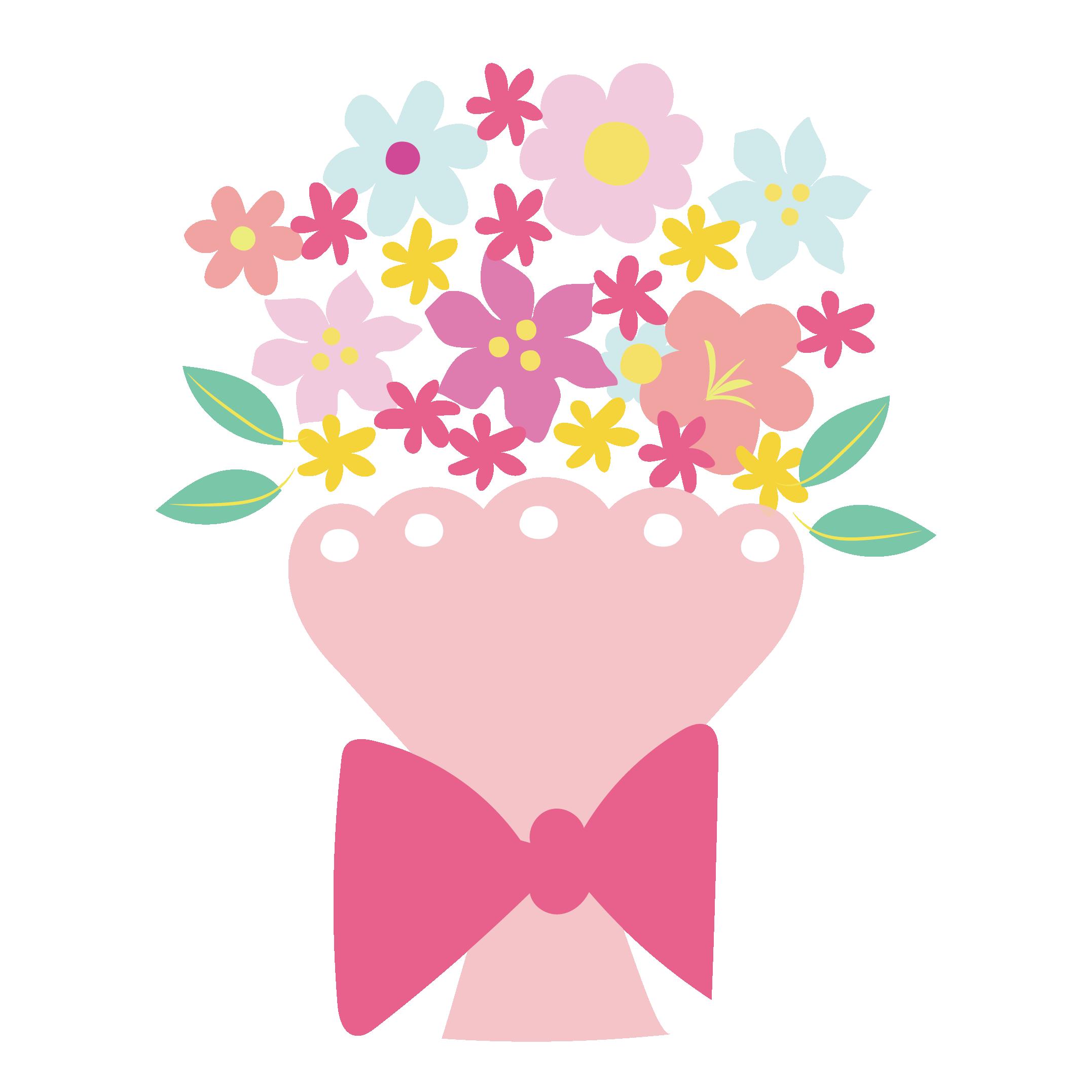 かわいい 花束 フリー イラスト 手描き風 商用フリー無料の