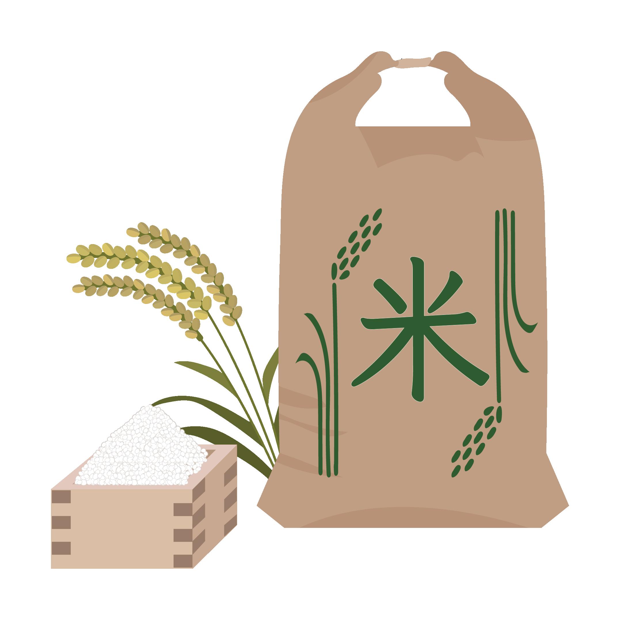 米 イラスト 稲に米袋 商用フリー無料のイラスト素材なら
