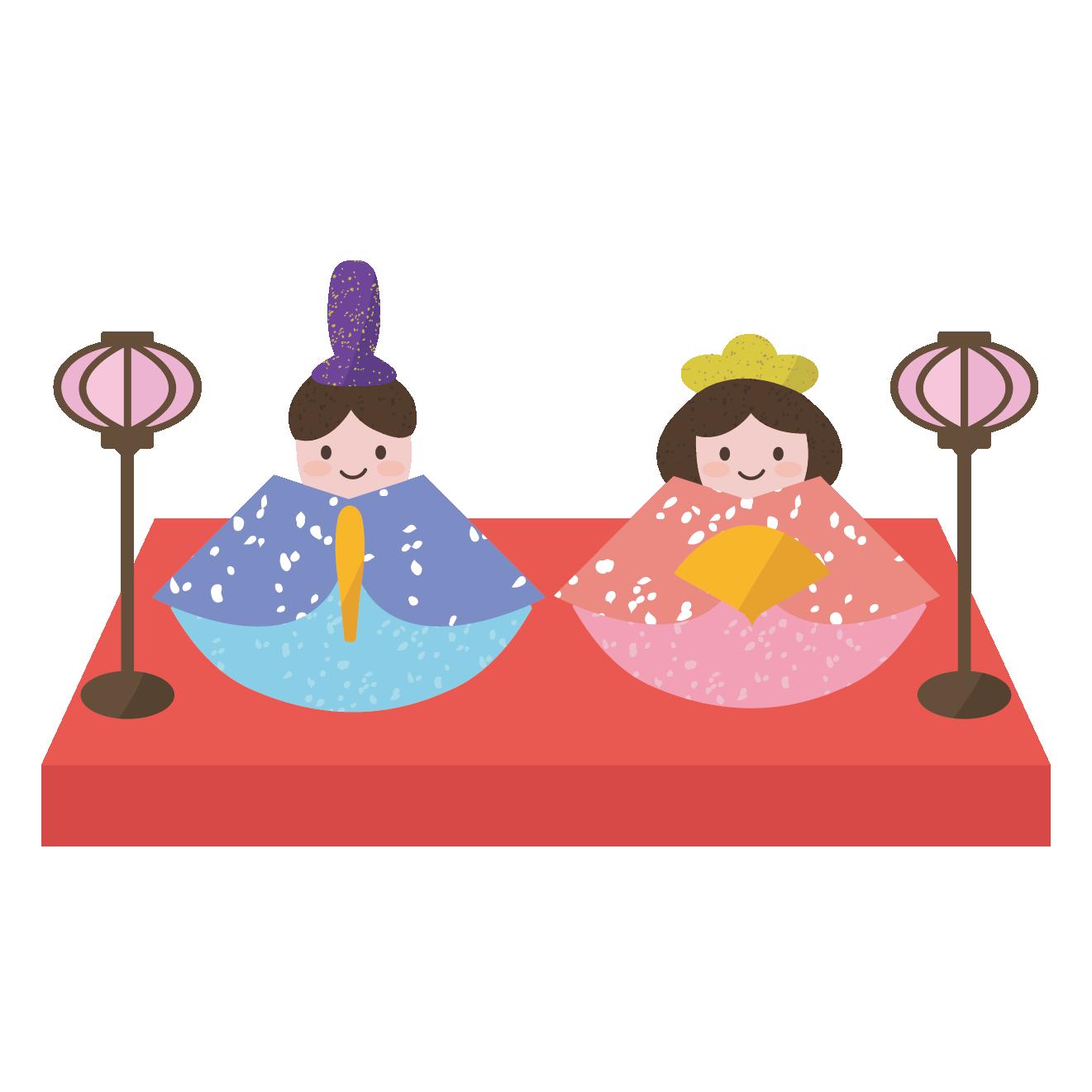 ひな祭り イラスト♪ かわいい雛人形   商用フリー(無料)のイラスト