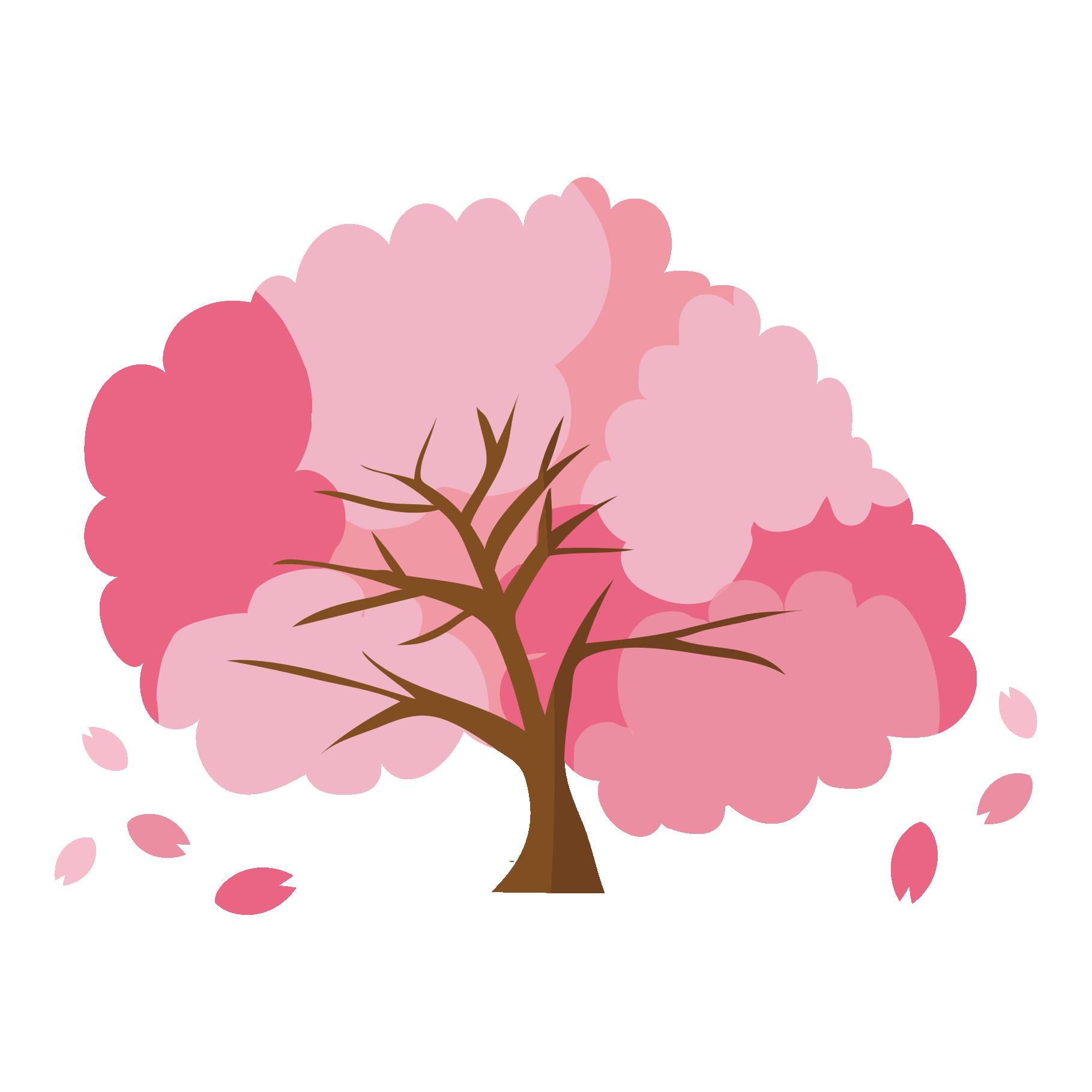 おしゃれでかわいい桜(サクラ・さくら)の木 イラスト | 商用フリー