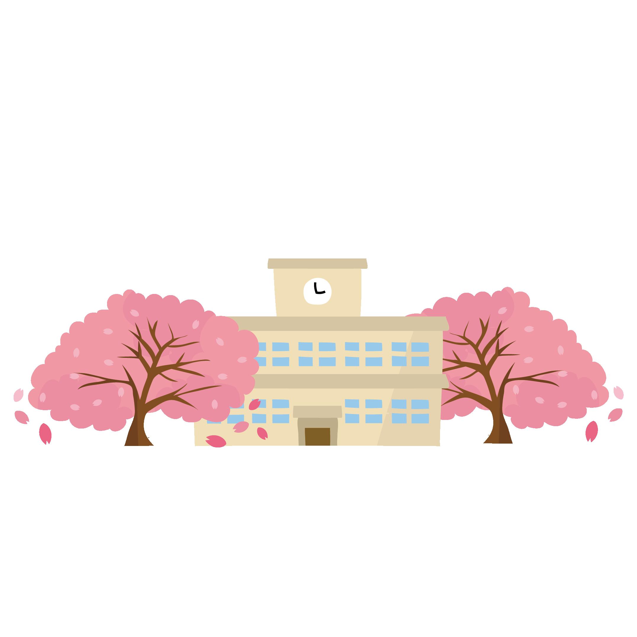 卒業式の日の学校と桜のイラスト | 商用フリー(無料)のイラスト素材