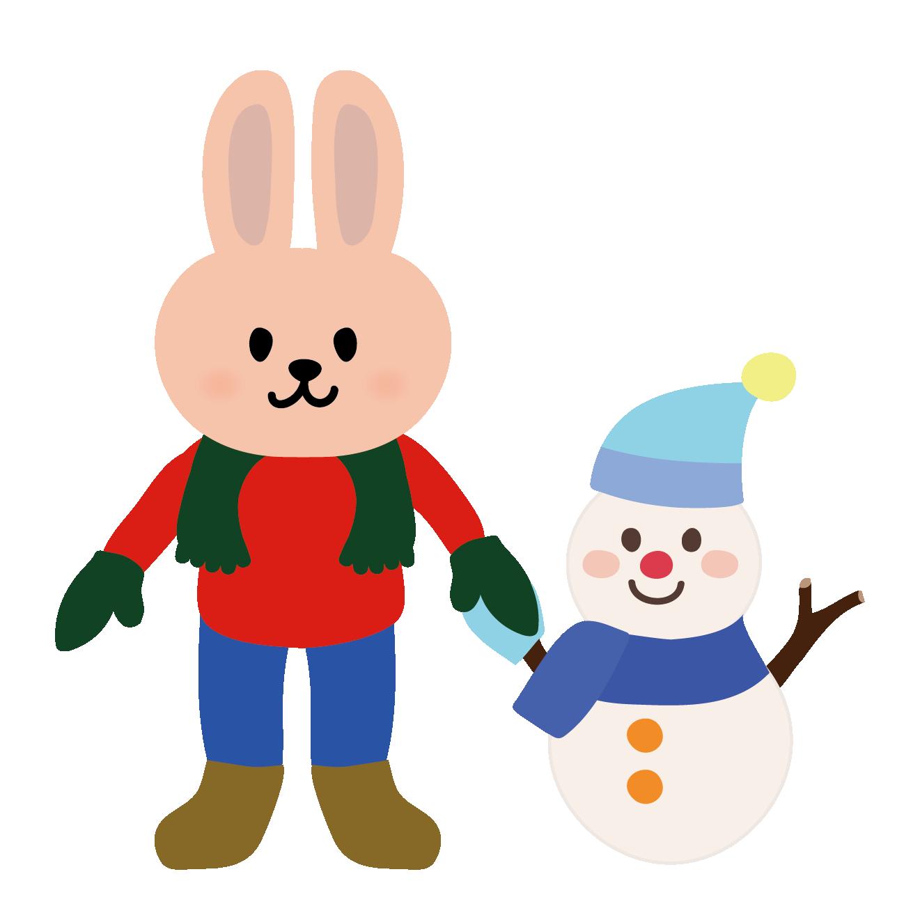 かわいいウサギうさぎと雪だるまのイラスト 商用フリー無料の