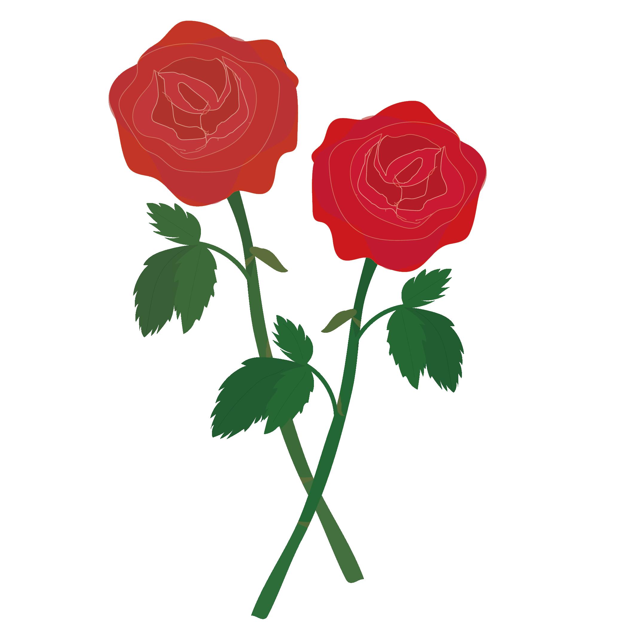 美しい赤い薔薇バラばらの フリー イラスト 商用フリー無料