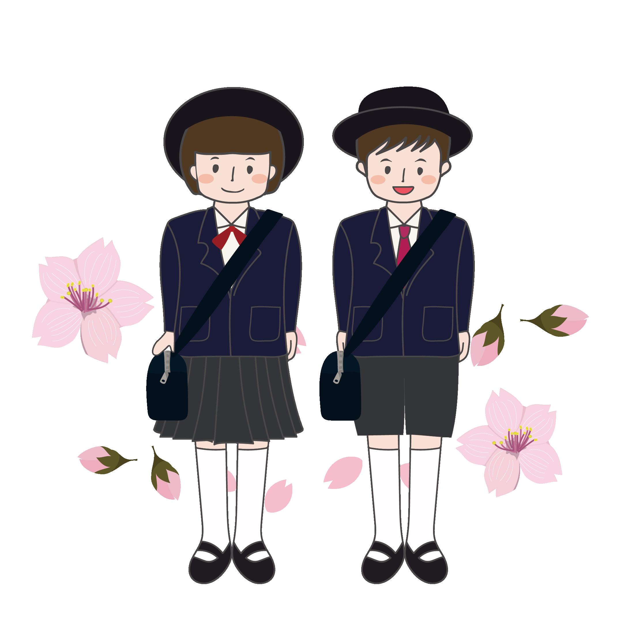入園式!幼稚園児(男の子,女の子)と桜のイラスト! | 商用フリー
