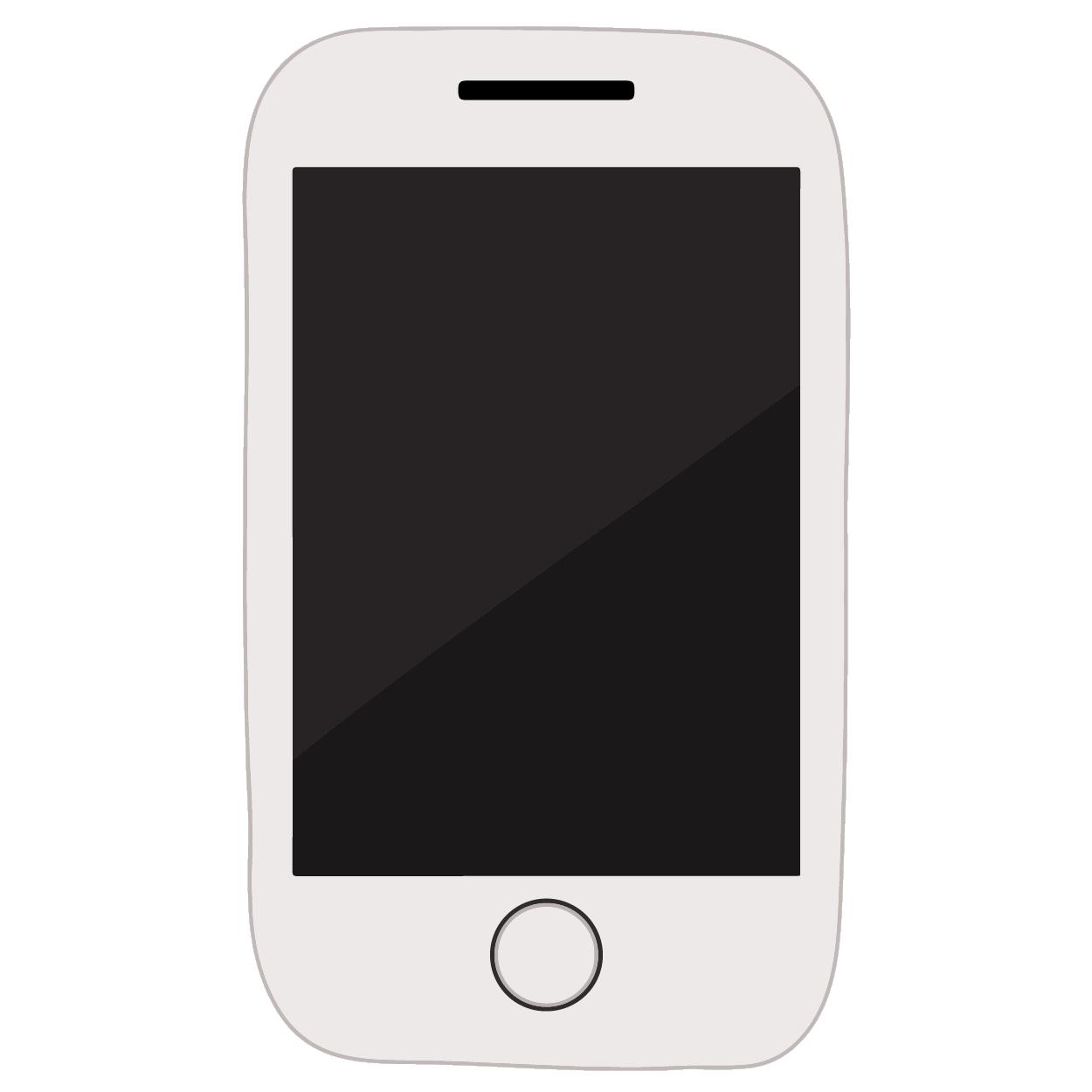 スマートフォン/携帯電話(白・ホワイト)のイラスト | 商用フリー