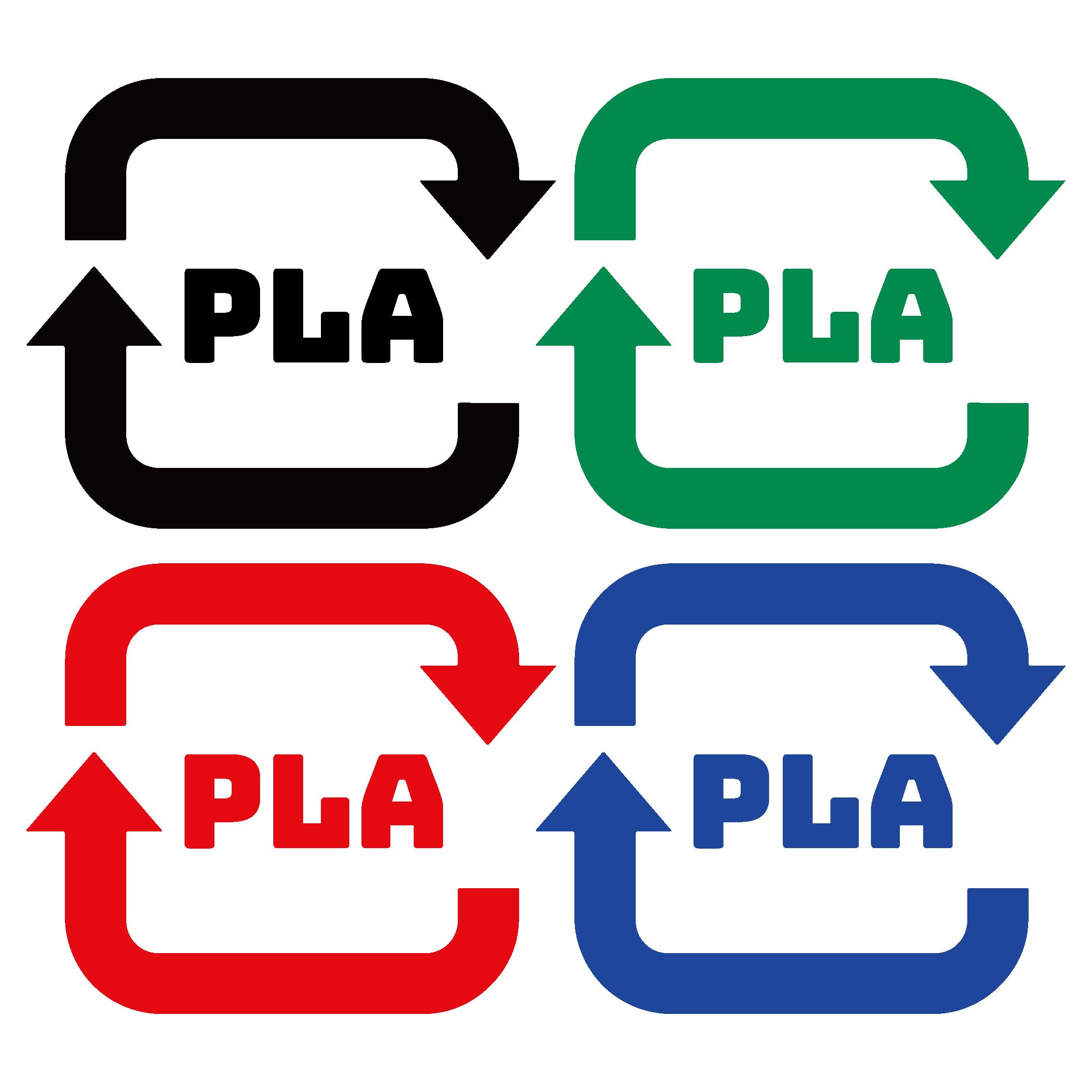 プラプラスチックのリサイクルマーク イラスト4色ゴミの分別