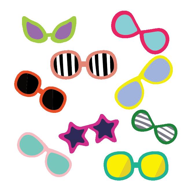 オシャレでかわいい!カラフルなサングラスのデザイン イラスト | 商用フリー(無料)のイラスト素材なら「イラストマンション」