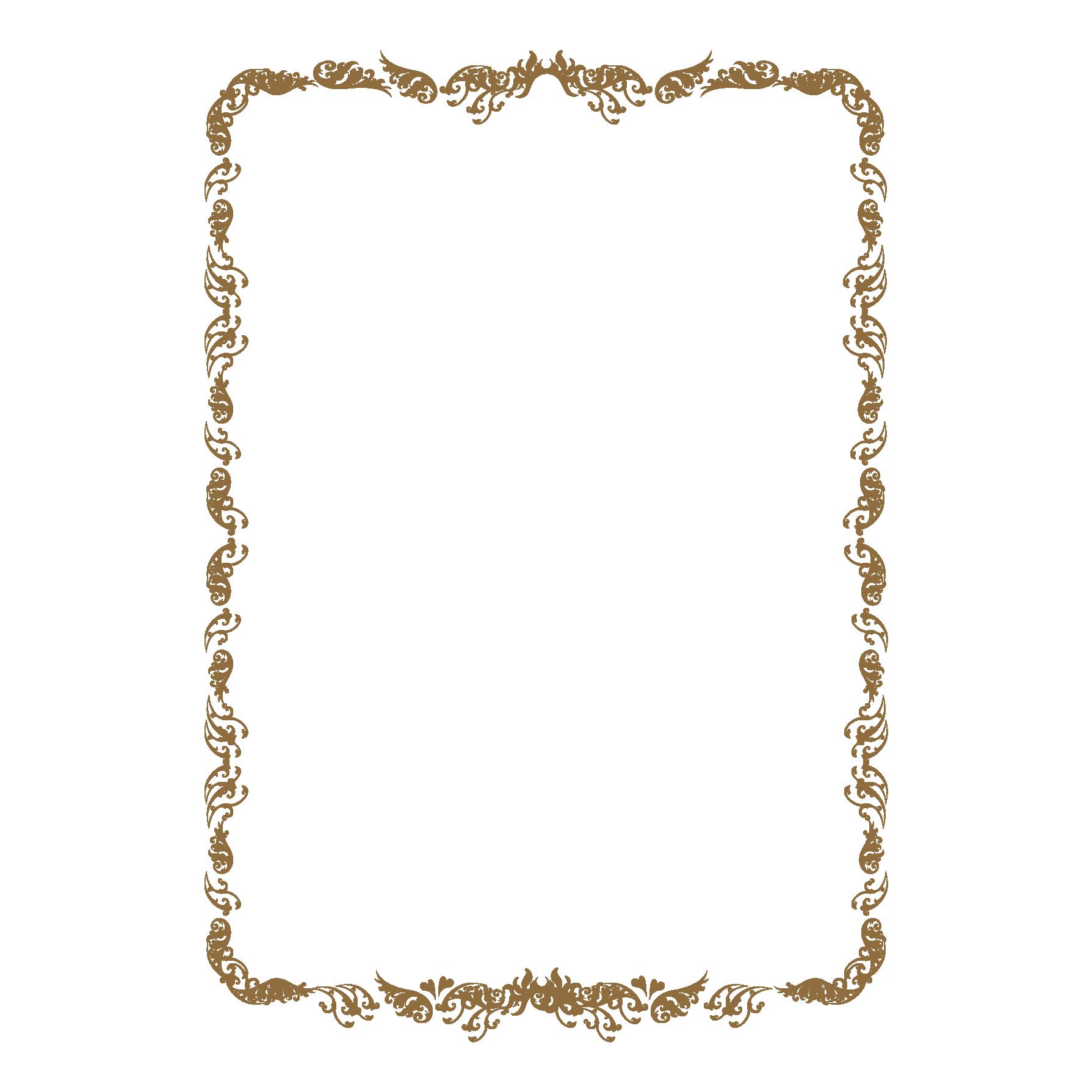 賞状(表彰状)の縦フレームのテンプレートイラスト | 商用フリー(無料