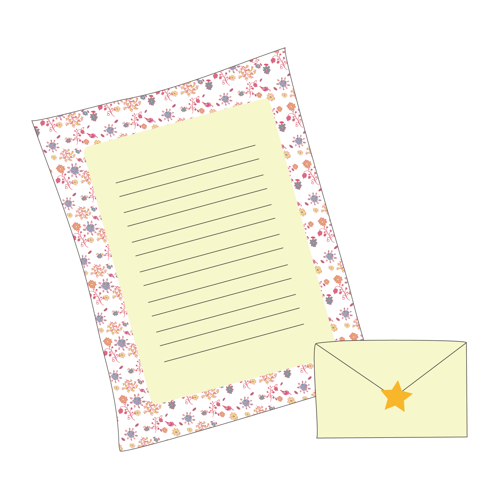 手紙を書こう!レターセット(便箋&封筒)のイラスト   商用フリー