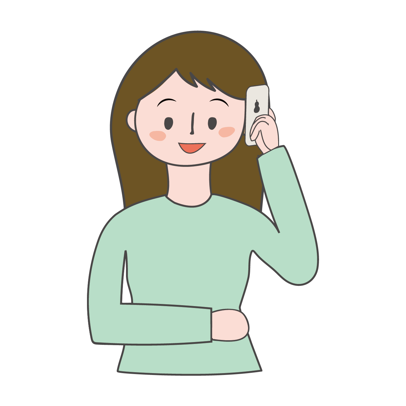 携帯電話で通話中(お話中)の女性のイラスト | 商用フリー(無料)の
