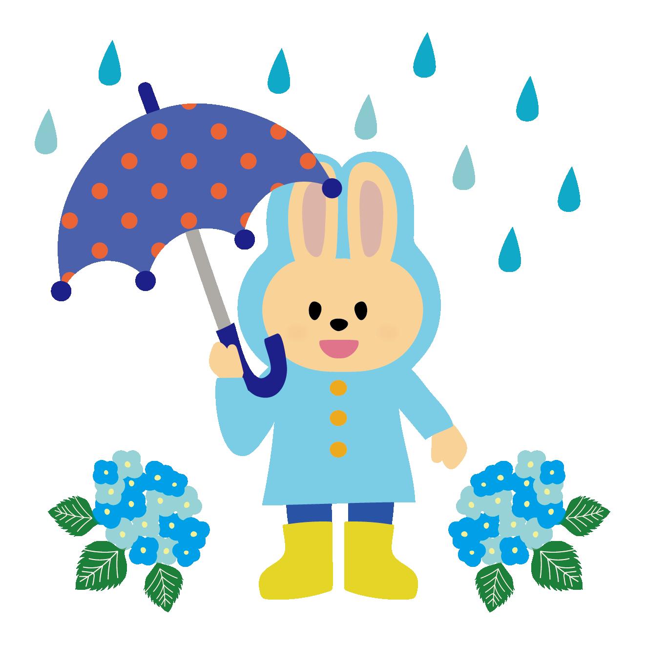 水色のレインコートを着たうさぎのイラスト【梅雨】 | 商用フリー(無料