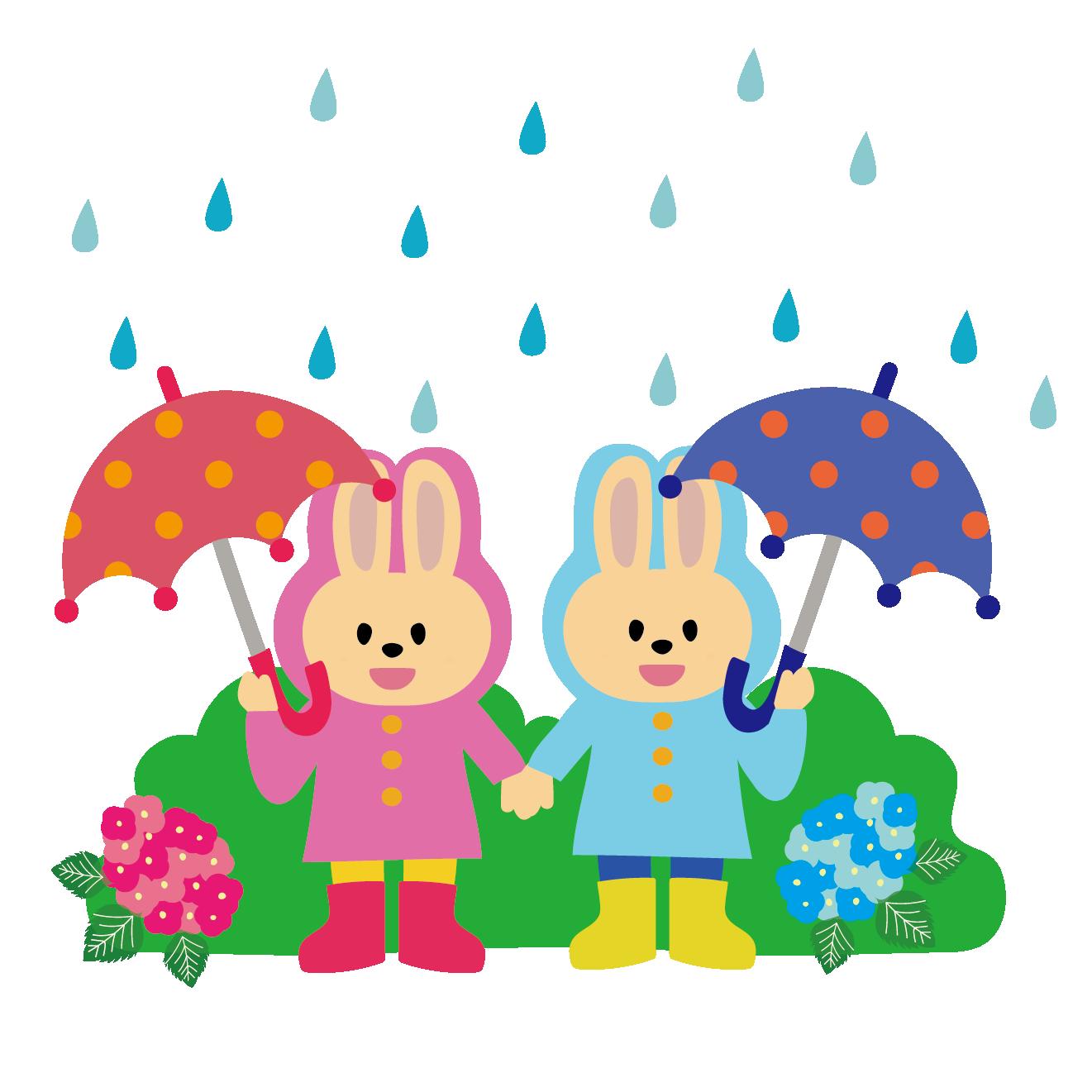 雨の日の登校傘をさしてレインコートを着たウサギさんのイラスト
