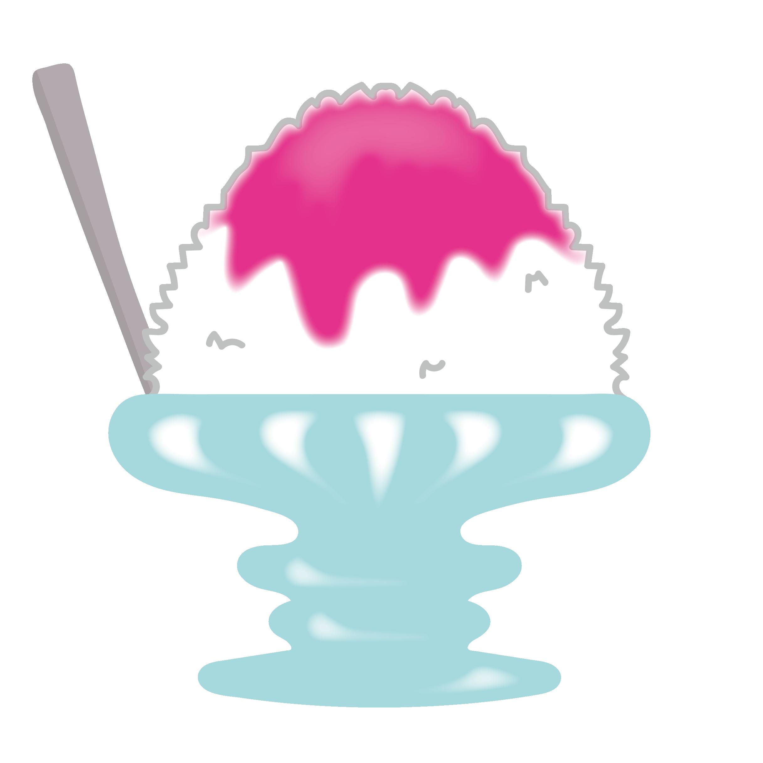 苺イチゴ味のカキ氷かき氷のイラスト 商用フリー無料の