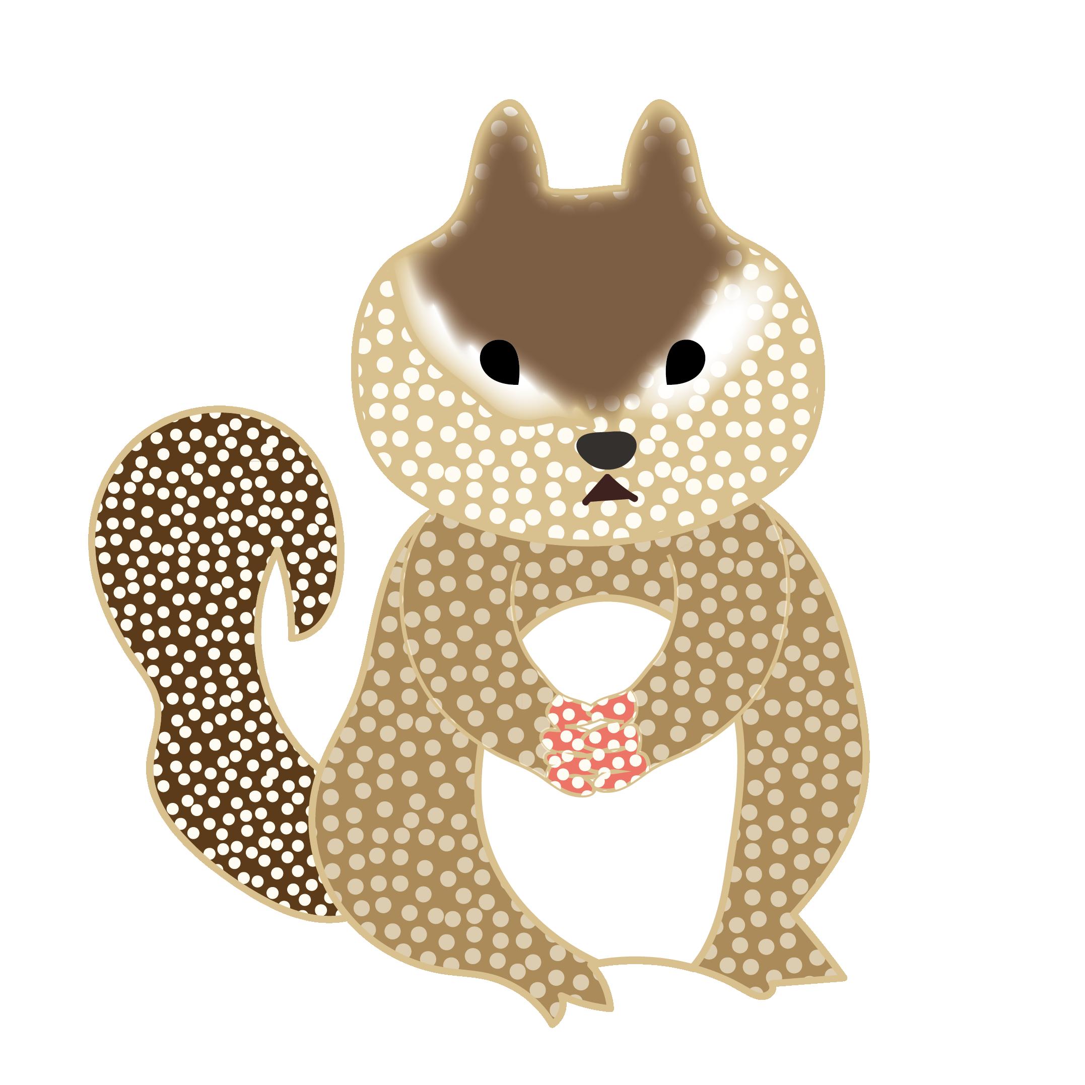 オシャレでかわいいリス栗鼠りすの 無料 イラスト