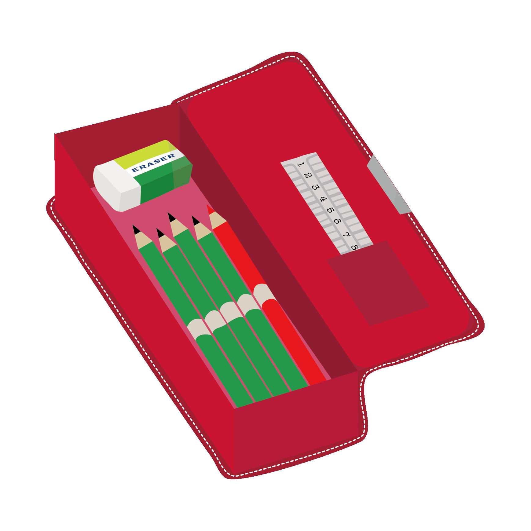赤の 筆箱ペンケースと鉛筆と消しゴムと赤鉛筆 の フリー イラスト