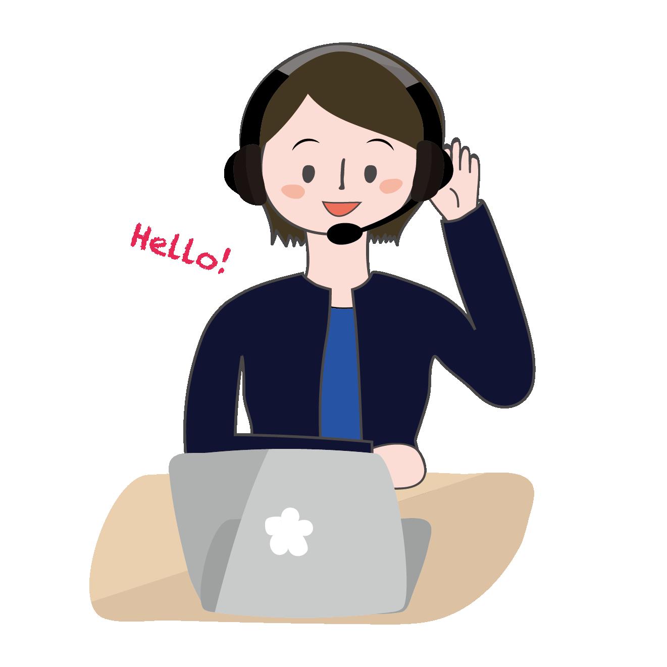 オンラインビジネス英会話を学ぶ社会人(女性)イラスト | 商用フリー