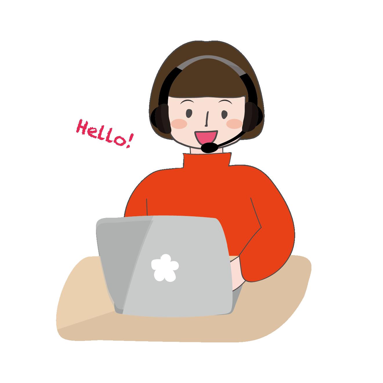 オンライン英会話を楽しむ子供(女の子)のイラスト | 商用フリー(無料