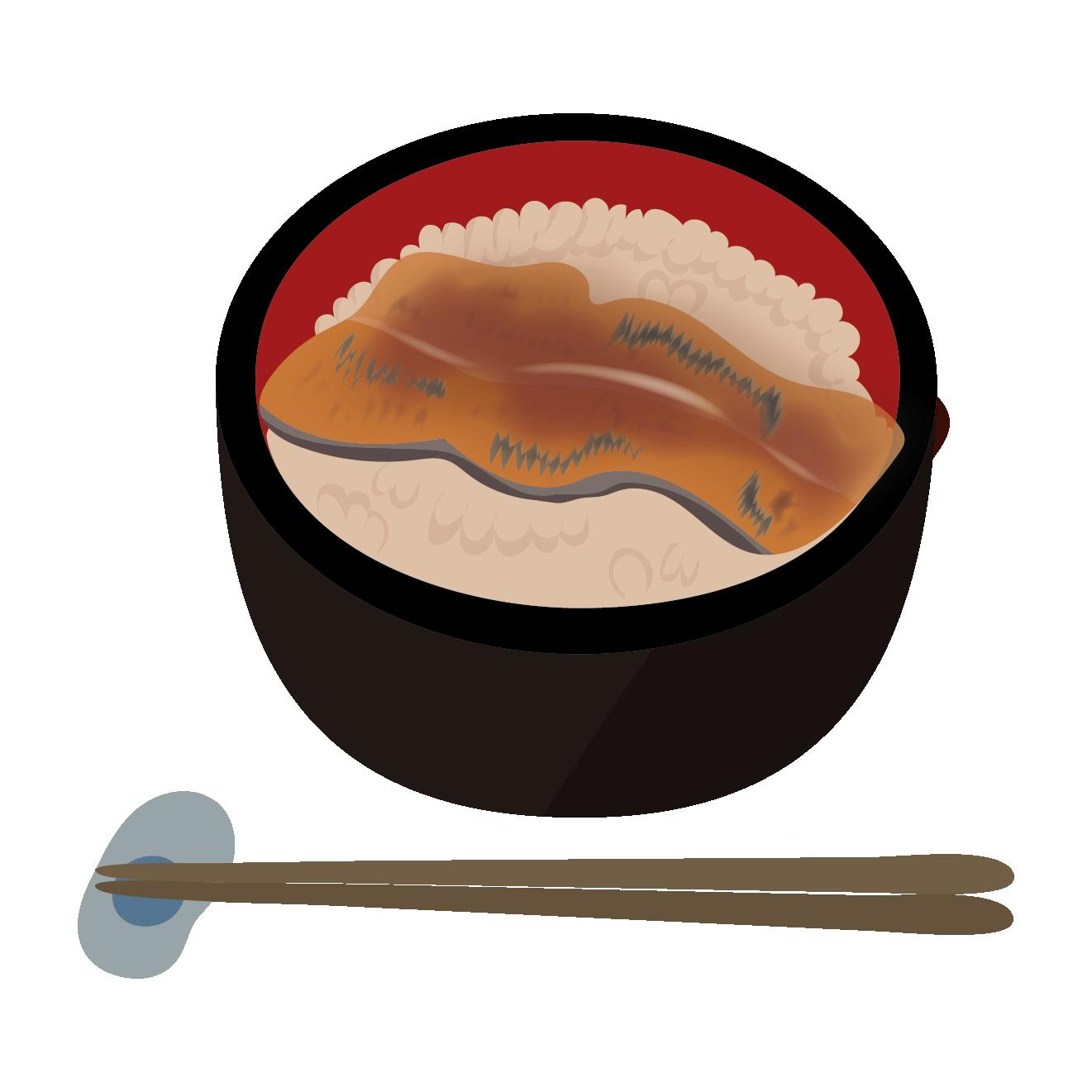 美味しそうな鰻丼うなどんのイラスト土用丑の日 商用フリー