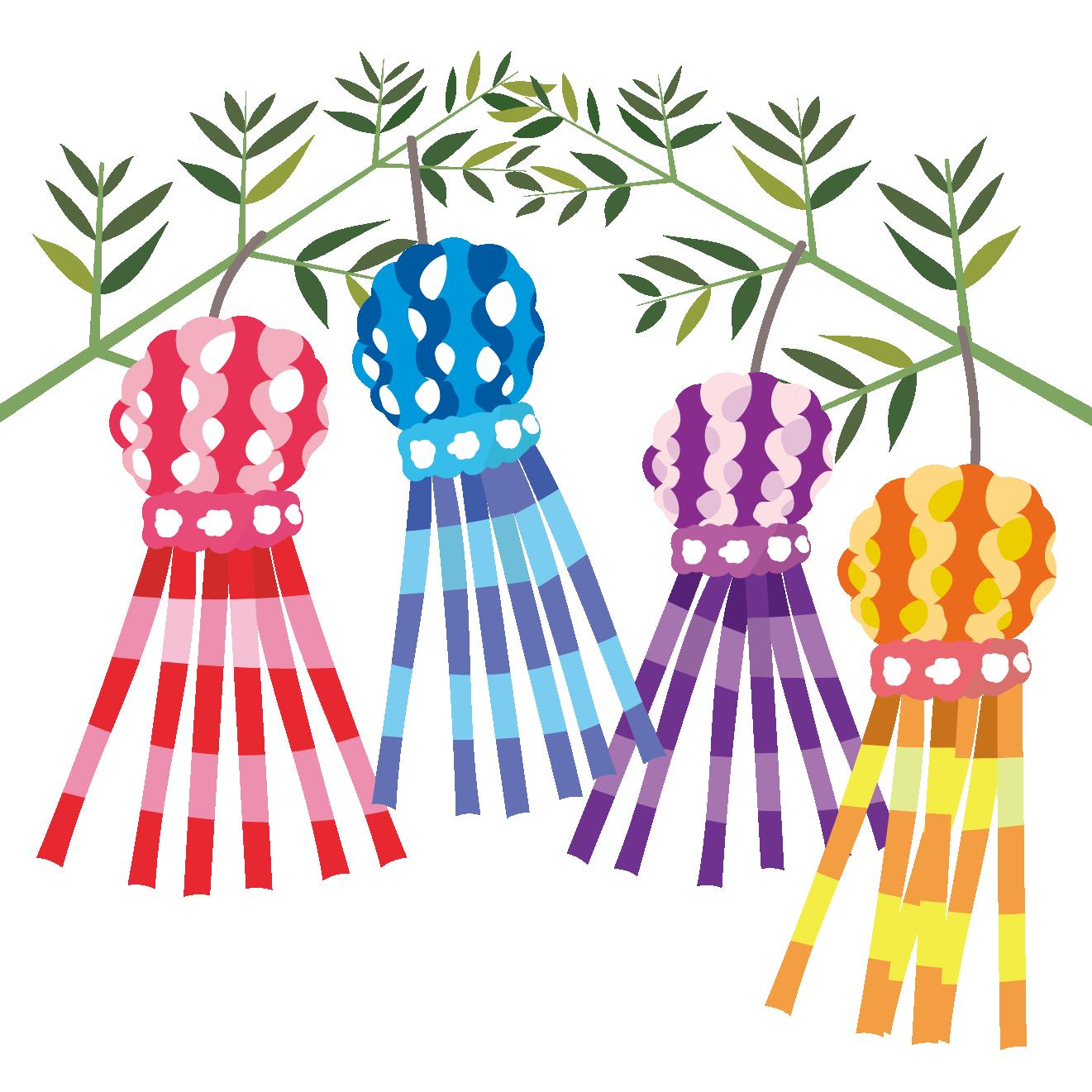 かわいい七夕祭りたなばたまつりの飾り七夕飾りのイラスト