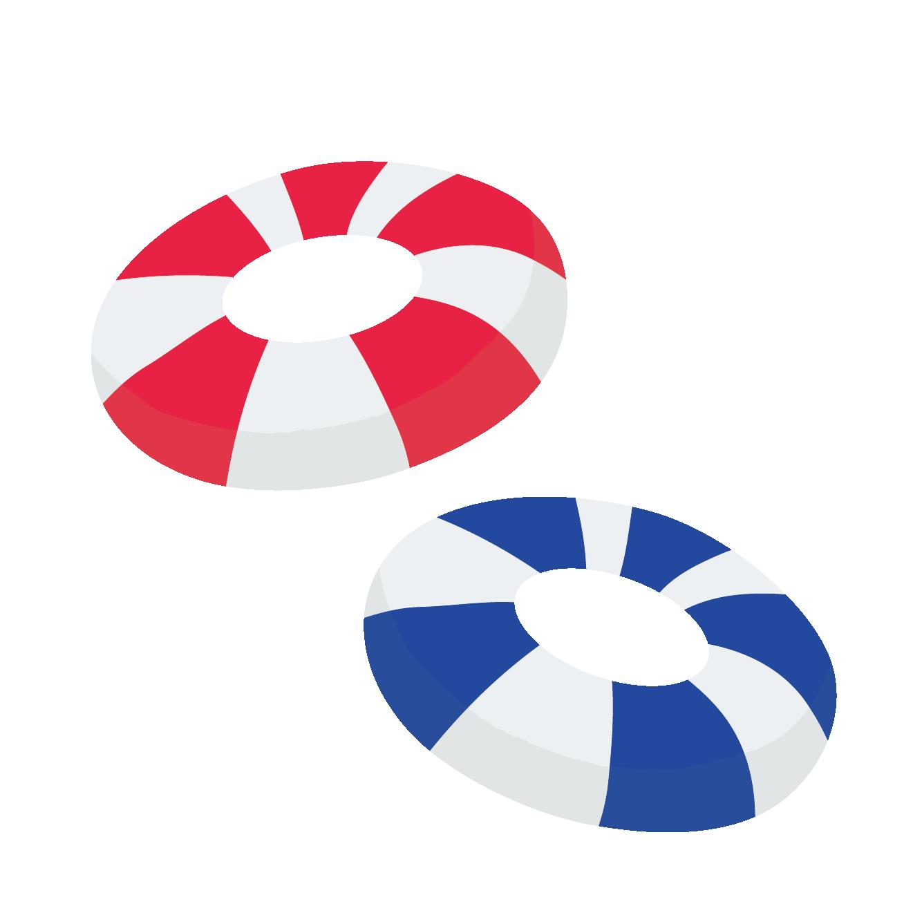 赤と青のマリンスタイルかわいい浮き輪のイラスト 商用フリー無料