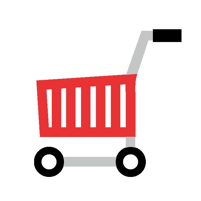 食材宅配買い物カゴショッピングカートのイラスト 商用フリー