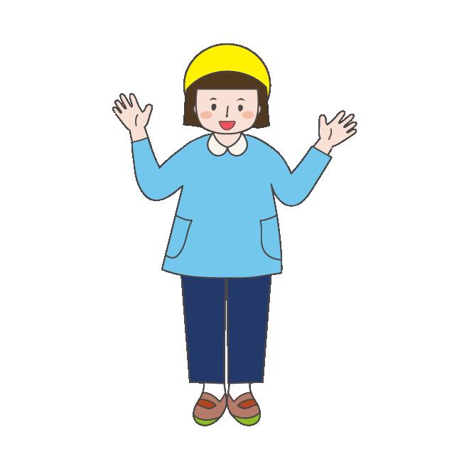 スモック 園服 と帽子姿の 幼稚園児の子供 女の子 イラスト 商用フリー 無料 のイラスト素材なら イラストマンション