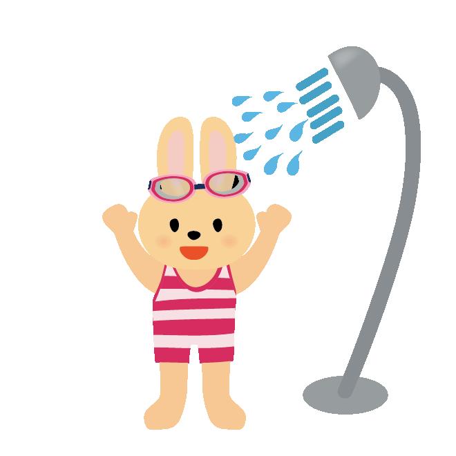 シャワーを浴びているウサギの女の子水遊びイラスト 商用フリー