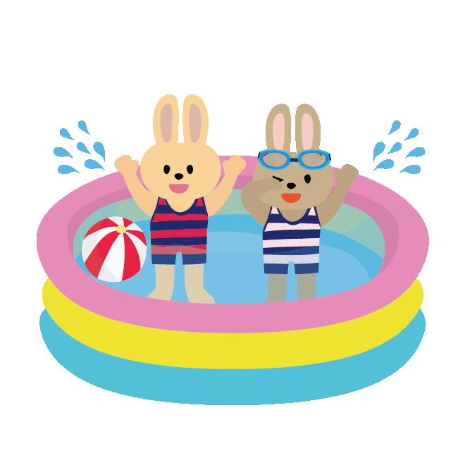 ビニール プール で 友達 と 水遊び をするうさぎ イラスト 商用フリー