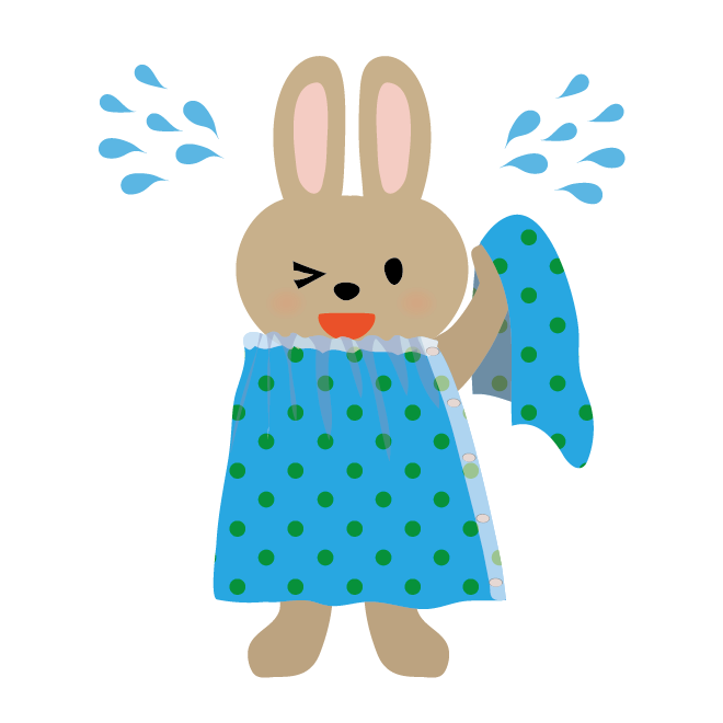 タオルで体を拭くウサギの男の子水遊びプール海川イラスト